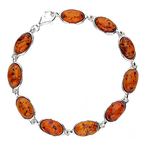 COGNAC BALTIC AMBER STERLING SILVER 925 JEWELLERY BRACELETS BEAUTY STONE, KAB-83