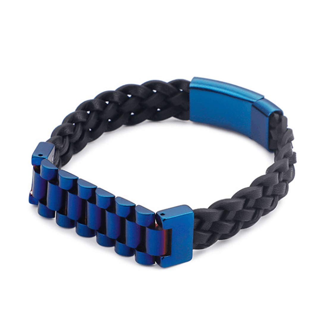 CEFULTY Men/'s Vintage Leather Bracelet Stainless Steel Woven Wrist Cuff Bangle Magnetic Clasp Color : Blue