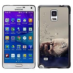 TECHCASE**Cubierta de la caja de protección la piel dura para el ** Samsung Galaxy Note 4 SM-N910 ** Hand Symbol Ocean Sea Ship Sailing Waves