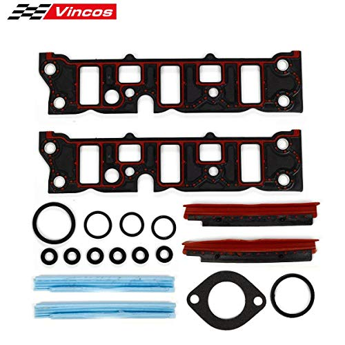 (Vincos Engine T Intake Manifold Gasket Lower Intake Gaskets Set Compatible with Buick/Chevy/Oldsmobile/Pontiac V6 3.8)