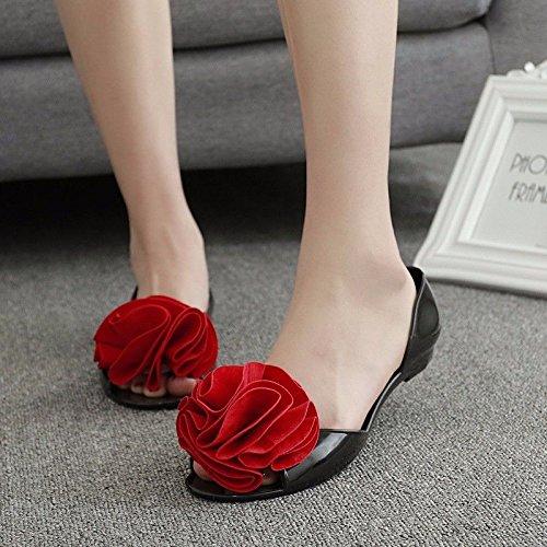 más Productos Blandas Las Playa LIUXINDA de Verano Moda Playa española Mujeres XZ de Sandalias Zapatos Nuevos Sandals Abajo Damas Rojo 7Pqw6E