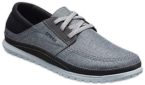 Crocs Men's Santa Cruz Playa Lace-Up Sneaker | Comfortable Casual Loafer, Slate Grey/Light Grey, 11 M US