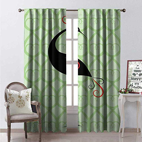 Hengshu Crane Room Darkening Wide Curtains Art Deco Background Standing Silhouette of Black Stork Decor Curtains by W108 x L84 Rock Green Pistachio Green and Black ()