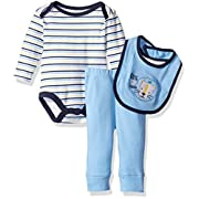 Rene Rofe Baby Boys' 3pc Turn-Me-Round-Set with Long Sleeve Bodysuit, Bib and Pant for, King of the Jungle Blue, 3-6 Months