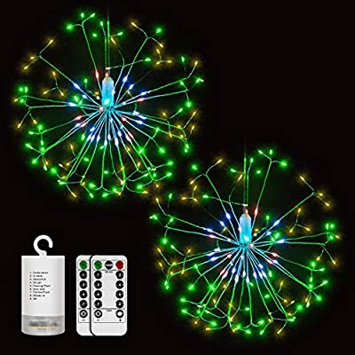 Digitblue Fairy Lights Battery Operated 2 Pack Outdoor String Light, Waterproof 3 Heads Starburst Light with 198 Led Micro Lights, Holiday Mood Light 8 Modes Christmas Twinkle Lights for Festival
