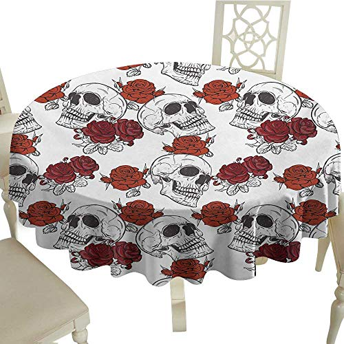 cobeDecor Fabric Dust-Proof Table Cover SkullRetro Gothic Dead Head Skeleton Figures with Roses Halloween Theme Spooky Trippy RomanticGrey