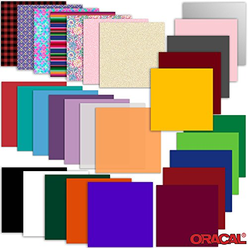 ORACAL Vinyl Variety Starter Pack - 29 Sheets - 651, 751, 641, 631, Pattern, Frost, Transparent