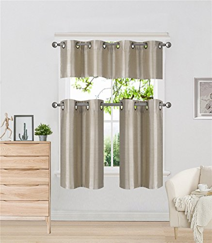 Elegant Home Collection 3 Piece Solid Color Faux Silk Grommet Blackout Kitchen Window Curtain Set with Tiers and Valance Solid Color Lined Thermal Blackout Drape Window Treatment # k9 (Taupe)