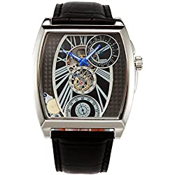OULM Automatic Mechanical Black Dial Military Unique Design Skeleton Men's Wrist Watch Leather Band