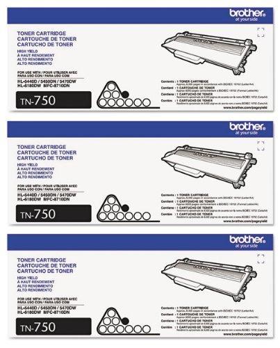 - Genuine Brother TN-750 (TN750) High Yield Black Toner Cartridge 3-Pack
