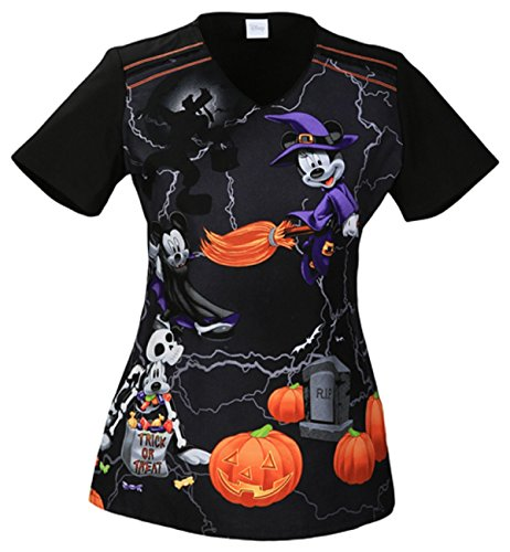 TF608XB6 MKIT XL Cherokee Tooniforms Halloween V-Neck Witching Hour Mickey Mouse -