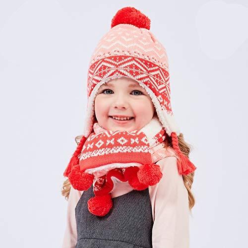 Zyyaxky Kinder Plus Samt Hut Schal Zweiteilig Winter Baby Dickes Warmes Set, L