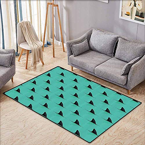 Large Area Rug,Marine Decor,Shark Fins in The Sea Danger in Ocean Scary Creature Swimming Illustration,Large Area mat,4'11
