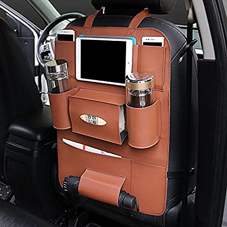 Umbrella Phone Tissue//Seat Cover with 6 Pockets Water-Repellent Leather Car Seat Back Organizer with Protective iPad Backrest Pocket for Children YAKER Car Backrests Protect 1 Pack Black Cup