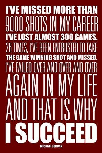 Michael Jordan I Succeed Red White Art Print Poster by Robin Hood Merchandise