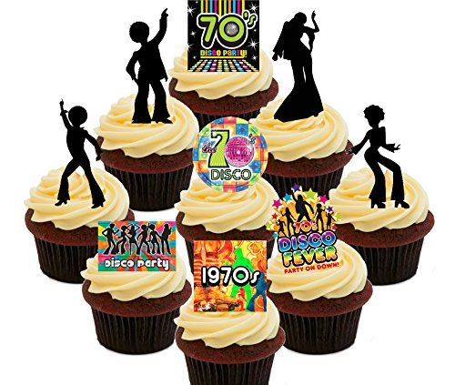 70s Disco Party Pack, Edible Cupcake Toppers - Stand-up Wafer Cake Decorations by Made4You