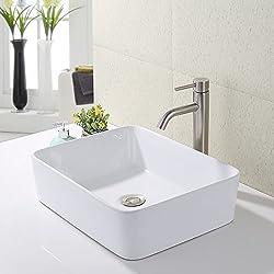 KES Bathroom Vessel Sink and Faucet Combo Bathroom Rectangular White Ceramic Porcelain Counter Top Vanity Bowl Sink Brushed Nickel Faucet, BVS110-C2