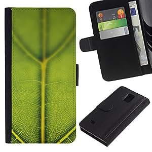 Paccase / Billetera de Cuero Caso del tirón Titular de la tarjeta Carcasa Funda para - Green Leaf Macro Nature - Samsung Galaxy Note 4 SM-N910