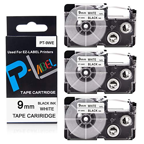 Pristar 9mm x 8m Replacement for Casio EZ XR-9WE XR-9WE2S Labeling Tape (Black on White), 3-Pack, Cassette for Casio EZ Label Maker KL-60KL-60SR KL-120 KL-8100 KL-100 KL-130 KL-820 KL-HD1-IH (Casio Label Maker Tape 9mm Black On White)