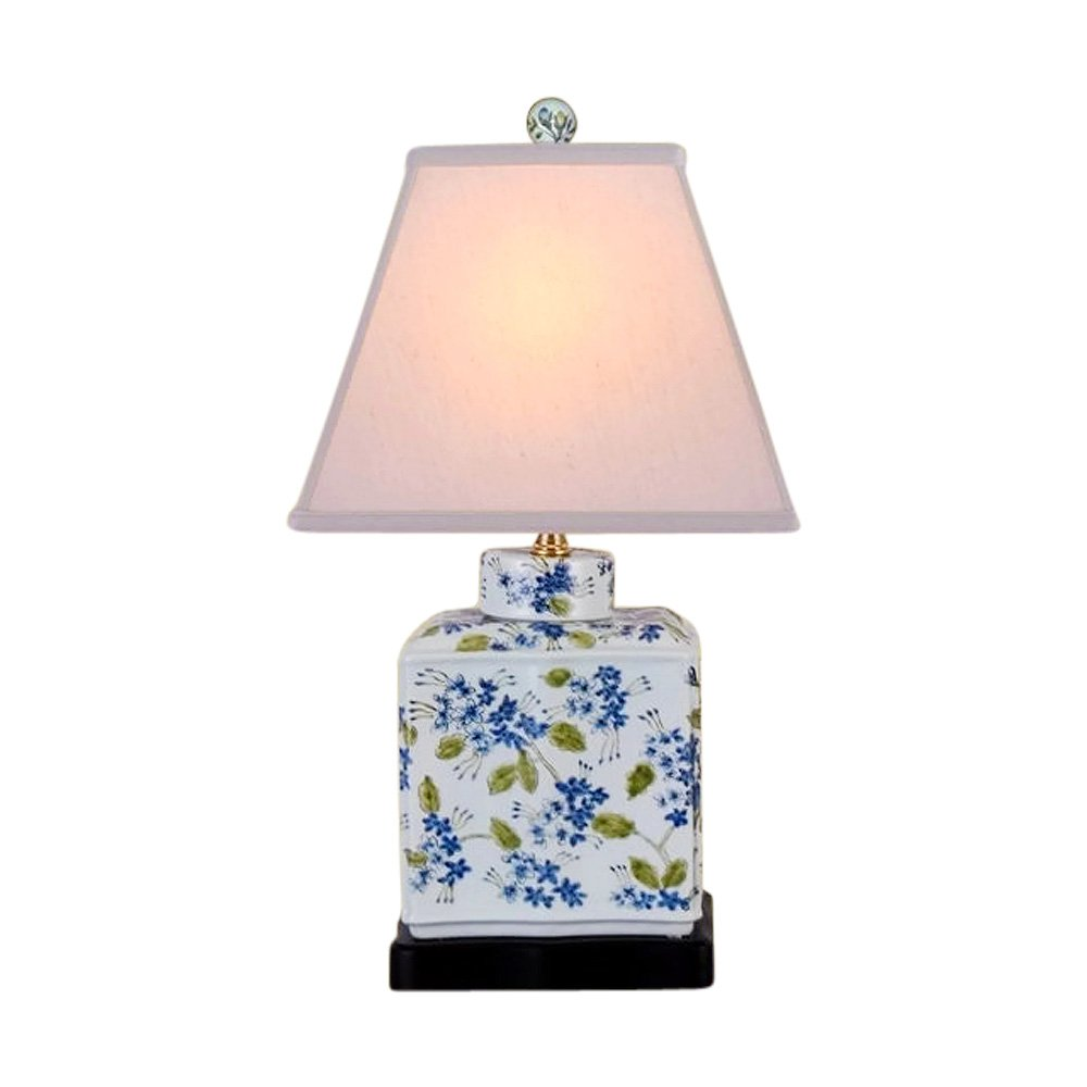 Chinese Porcelain Green Blue White Tea Caddy Floral Motif Table Lamp 20''