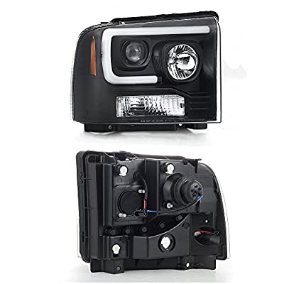 For 2005-2007 Ford Pickup F250 F350 F450 Superduty Black LED Tube Projector Headlights Left+Right Pair: Automotive