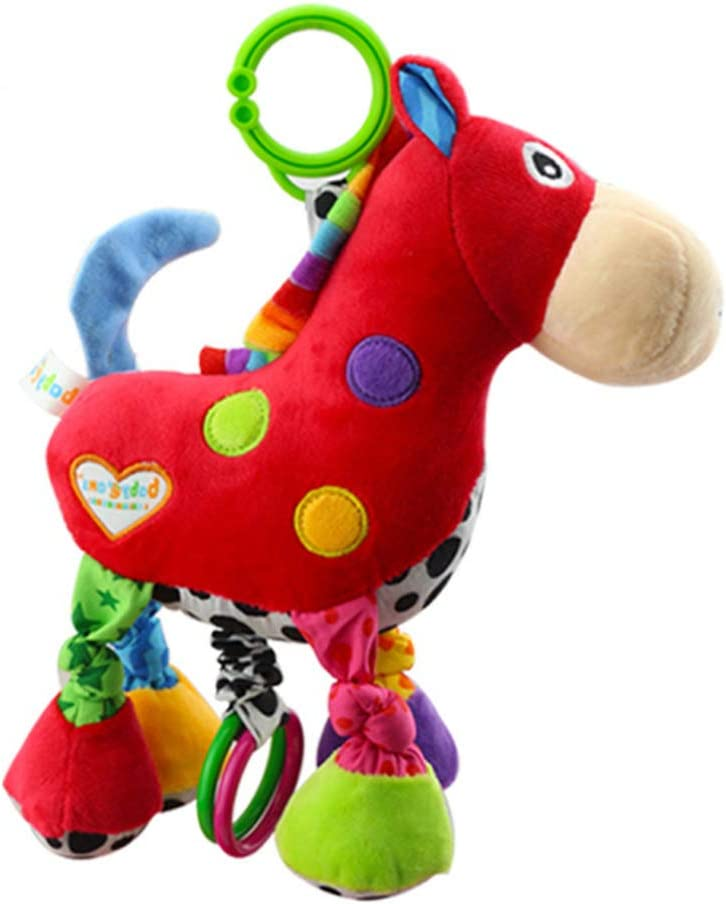 STOBOK Bebé Mordedor Sonajero Títere Juguete Felpa Caballo de Peluche Carro Infantil Colgante Colgante con Gancho Animal Juguetes Desarrollo Música Sonido Juguete