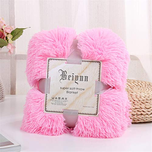 Sleepwish Girls Fluffy Pink Blanket - Decorative Sofa, Couch and Floor Throw - Warm, Cozy, Super Soft Bed or Car Cover - Long Shaggy Hair, Faux Fur, Microfiber Polyester Material - 63 x 79 Inches