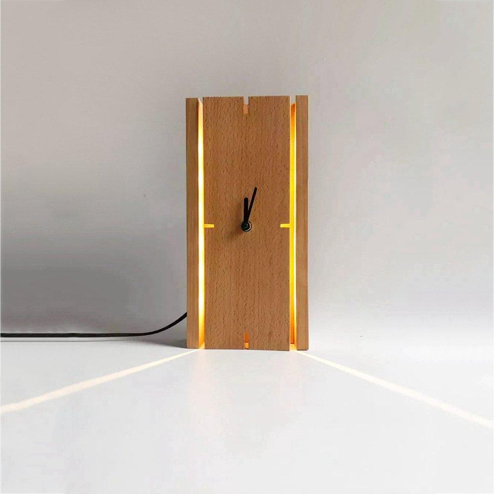 LED Wandleuchte Nordic Holz Wandleuchte Kreative Uhr Wandleuchte Moderne Nachttischlampe Wohnzimmer Esszimmer Wanddekoration Lampe