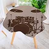 Drum Kit Coffee Table UHOO2018 Table Decoration Durable-Grunge Drum Kit for Bass Rythm Lovers Ba Dum TSS Image Sketchy Art for Home Kitchen Dining roomWaterproof Coffee Tablecloth 43.5