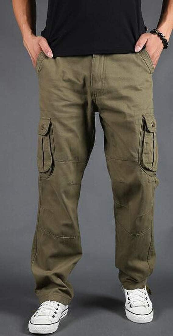 Pandapang Mens Big and Tall Rugged Wear Solid Color Cargo Multi Pockets Pants