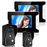 HITSAN ENNIOSY813MK22 7 Color TFT Video Door Phone Doorbell Intercom Kit 2 Cameras 2 Monitors Night Vision'' One Piece