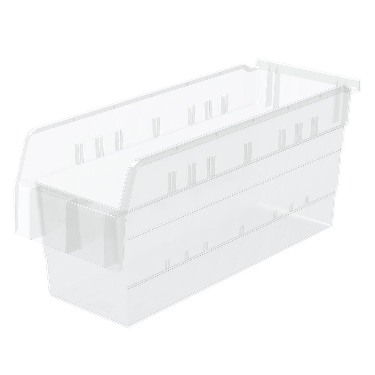 Akro-Mils 30868 ShelfMax 8 Plastic Nesting Shelf Bin Box, 18-Inch x 6-Inch x 8-Inch, Clear, 10-Pack