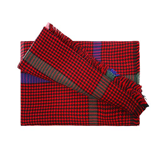 (Cashmere Scarf Shawls Wrap, Large Soft Pashmina Cashmere Shawl Blanket Waffle Plaid Wool Scarf Shawls Wrap for Men & Women (Red))