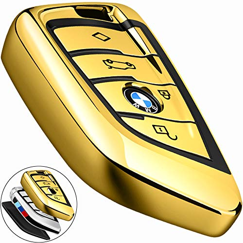 COMPONALL for BMW Key fob Cover, Key Fob Case for BMW 2 5 6 7 Series X1 X2 X3 X5 X6 Premium Soft TPU Anti-dust Full Protection Gold ()