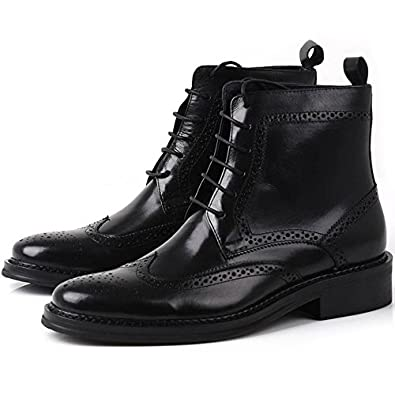 good Fulinken Leather Oxford Brogue Wingtip Mens Lace up Boots Dress Leather Military Shoes