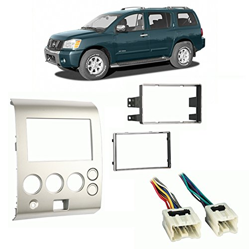 Fits Nissan Armada Pathfinder 2004-2005 Double DIN Harness Radio Dash Kit ()