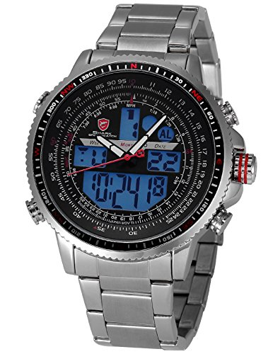 Winghead Shark Men's SH325N Digital Analog Quartz LCD Day Date Alarm Calendar Stopwatch Stainless Steel Wrist Watch