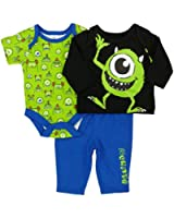 Disney Baby Infant Boys 3P Monster's, Inc. Bodysuit Shirt & Pants Set NB
