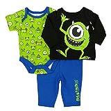 Disney Baby Infant Boys 3P Monster's, Inc. Bodysuit Shirt & Pants Set NB