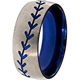 New Titanium Blue Baseball Ring With Stone Top Finish, Baseball Bands, Sports Rings