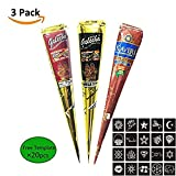 Temporary India Tattoo Paste Kit Body DIY Art Painting Henna Cone Drawing with Free Tattoo Stencil Templates Papper Set,20 pcs Free Stencil Set (three-Color) (Crown)