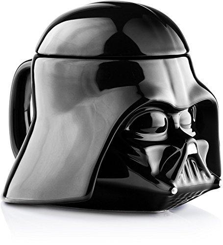 Star Wars Last Jedi Mug - Darth Vader Helmet 3D Ceramic Figural Coffee Mug with Removable Lid - 20 (Helmet Mug)