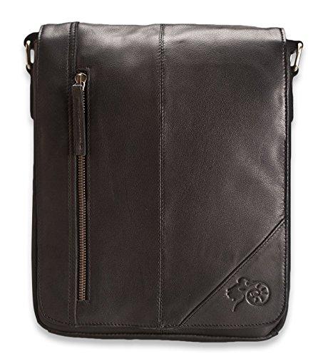 Brunhide - Bolso bandolera para iPad y Tablet - De cuero auténtico - Para hombre - # 121-300 Negro