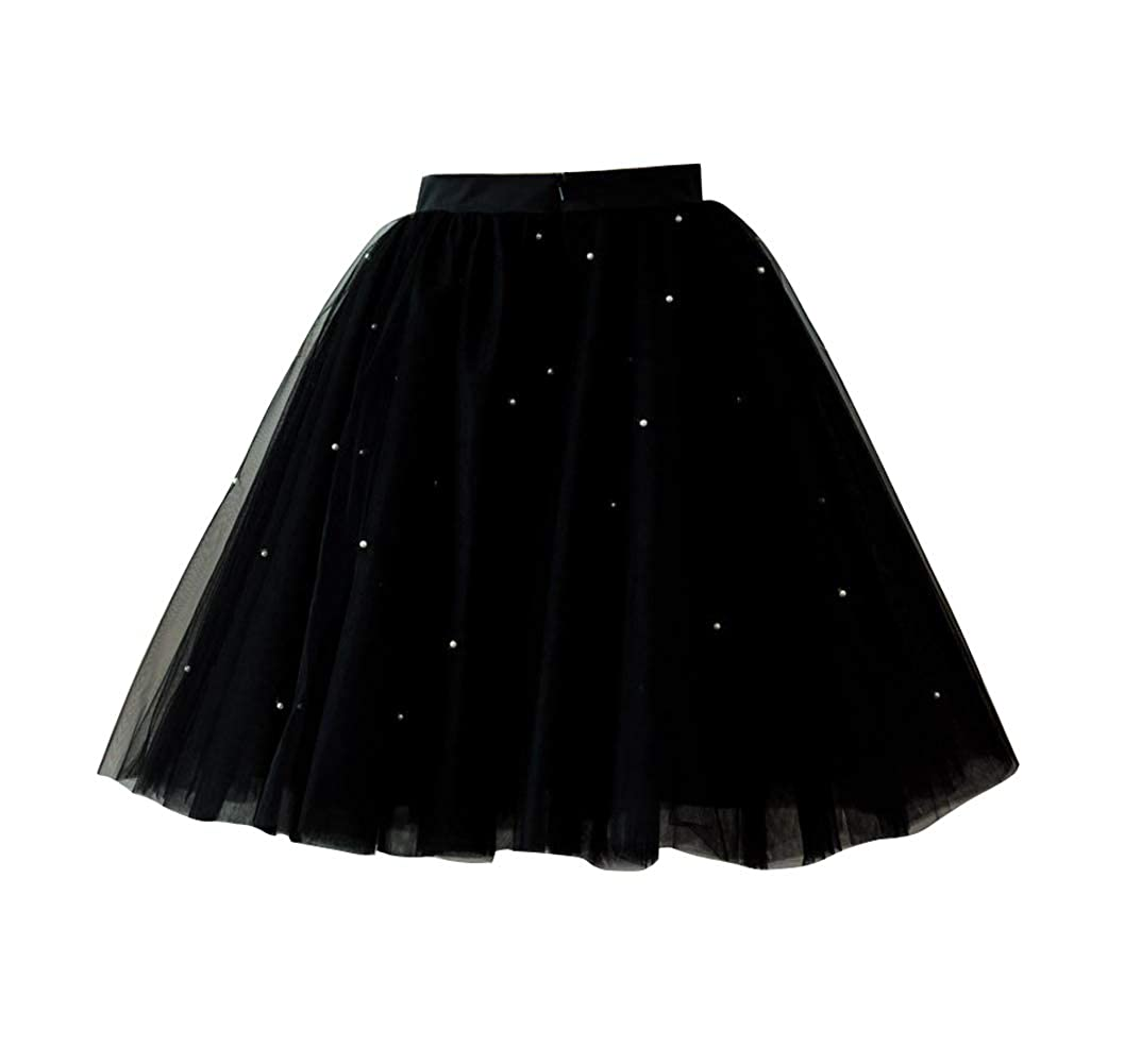 Blackbead flowerry Women Tutu Tull Knee Length Skirt Wedding Bridesmaid Tutu Tulle Prom Skirt Pink