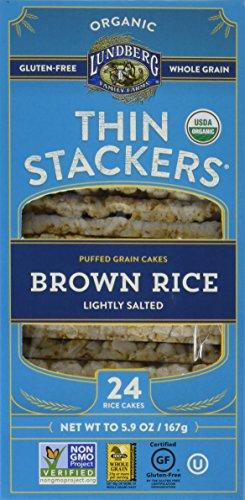 Lundberg Family Farms Organic Thin Stackers Grain Cakes, Brown Rice Lightly Salted, 5.9 Ounce (Pack of 12)