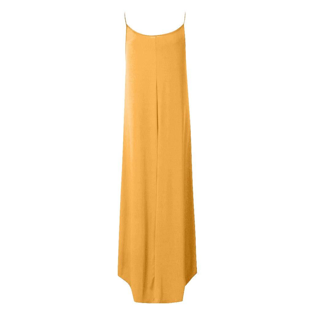 OFEFAN Womens Summer Casual Stripe Sleeveless Loose Beach Maxi Dress
