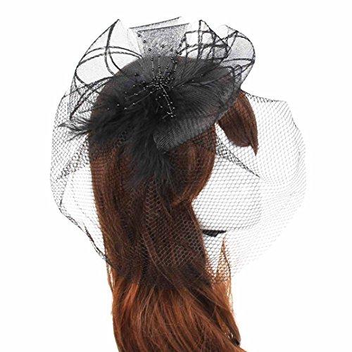 Binmer(TM)Wedding Fascinator Veil Feather Hard Yarn Headband Brides Hair (Black)]()