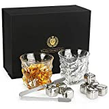 Kollea Whiskey Stones Gift Set With 8 Stainless Steel Ice Cubes and Two Whiskey Glasses, Reusable Stainless Steel Chilling Rocks & Tongs, Gift Box Packaging Gift for Men