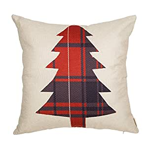 "Fjfz Christmas Tree, Scottish Buffalo Plaid, Home Decorative Throw Pillow Case Cushion Cover for Sofa Couch,18"" x 18"""