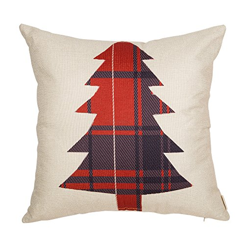 Fjfz Christmas Tree, Scottish Buffalo Plaid, Home Decorative Throw Pillow Case Cushion Cover for Sofa Couch,18